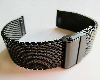 Herrlich Black Steel Watch Bracelet Chainmail Snake Mesh 18 20 22mm Quality Strap Band