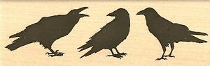CROW TRIO HALLOWEEN Wood Mounted Rubber Stamp IMPRESSION OBSESSION D7839 NEW