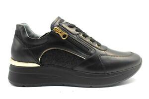 Chaussures-Feminin-Nero-Giardini-3183D-Baskets-Noir-Casual-Sportif-en-Cuir-Italy