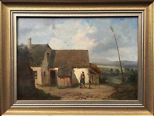 Franz-Sager-1821-c-1891-Austria-Farmhouse-With-People-Romantics