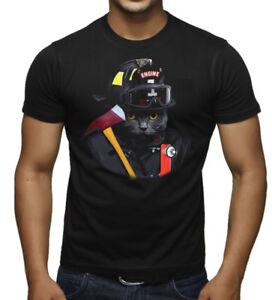 8ca99167 New Men's Firefighter Cat Black T Shirt Fireman Fire Dept. EMT ERT ...