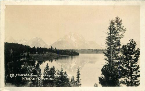 1920s Moran Wyoming Mt Moran Jackson Lake Lodge RPPC real photo postcard 12752