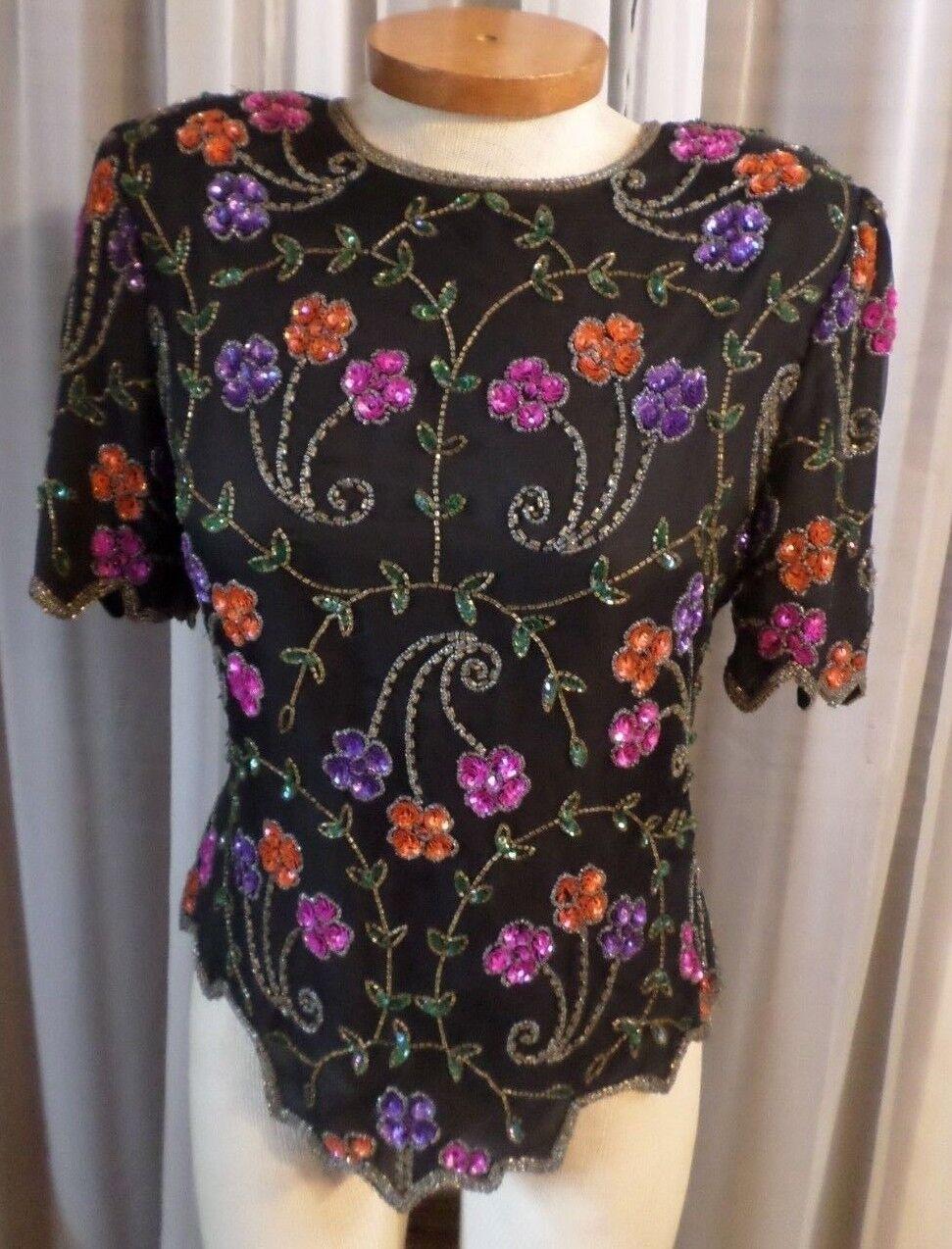 Lady Large schwarz Silk Blouse Top Woman L Bead Sequins Vintage Formal Evening 12