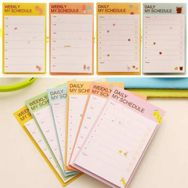 5Pcs Lovely Cartoon Plan Schedule Check Stick Bookmark Pads Sticky Notes