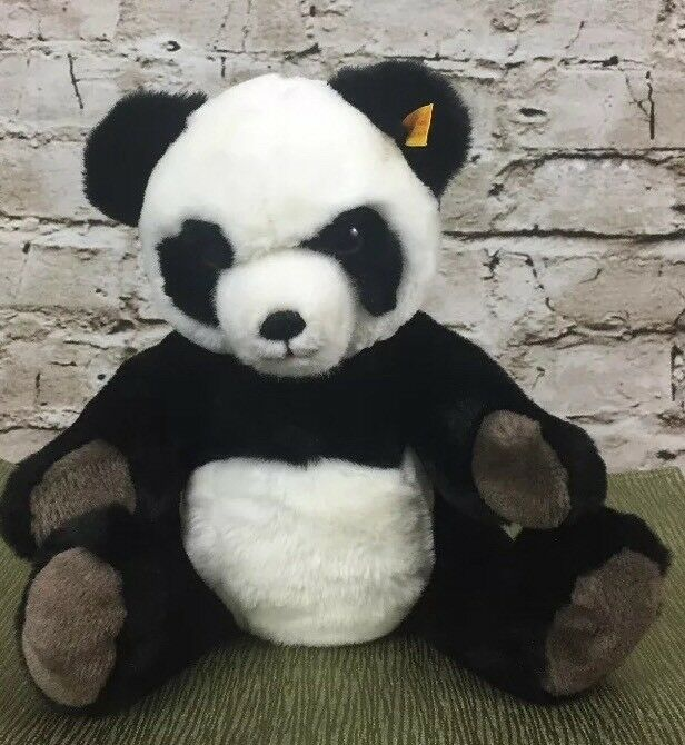 Steiff Western Germany @1988 Panda Bear w  Tag and Button Moveable Legs and Head