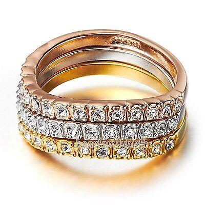 3 in 1 Crystal Trinity Twisted Ring 18k Alloy Wedding Bridal Gift R279