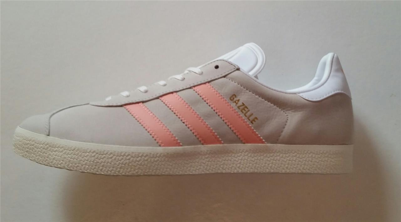 Adidas Damen Gazellen Turnschuhe Retro Ecru Pfirsich Neu by9035 UK 9, UK 9,5