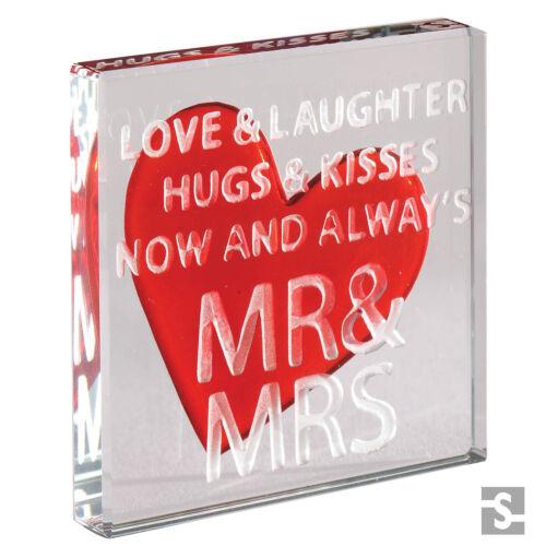Spaceform Wedding Gifts Present Glass Token Mr /& Mrs Keepsake Gift Idea 1875