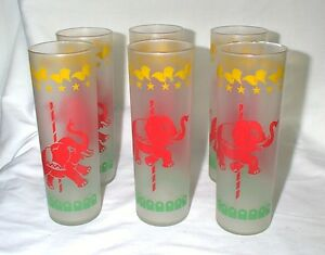 Vintage-Libbey-Carousel-Glasses-Red-Elephant-Circus-Tumblers-SIX-Merry-Go-Round