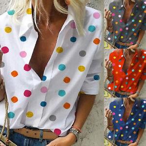 Femme-d-039-Ete-Boho-Manches-Court-Button-Pois-Imprime-Chemise-Blouse-Decontracte