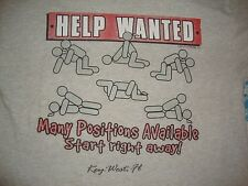 Vintage 90's FLORIDA Key West Sex Positions Joke Help Wanted Tourist T Shirt L