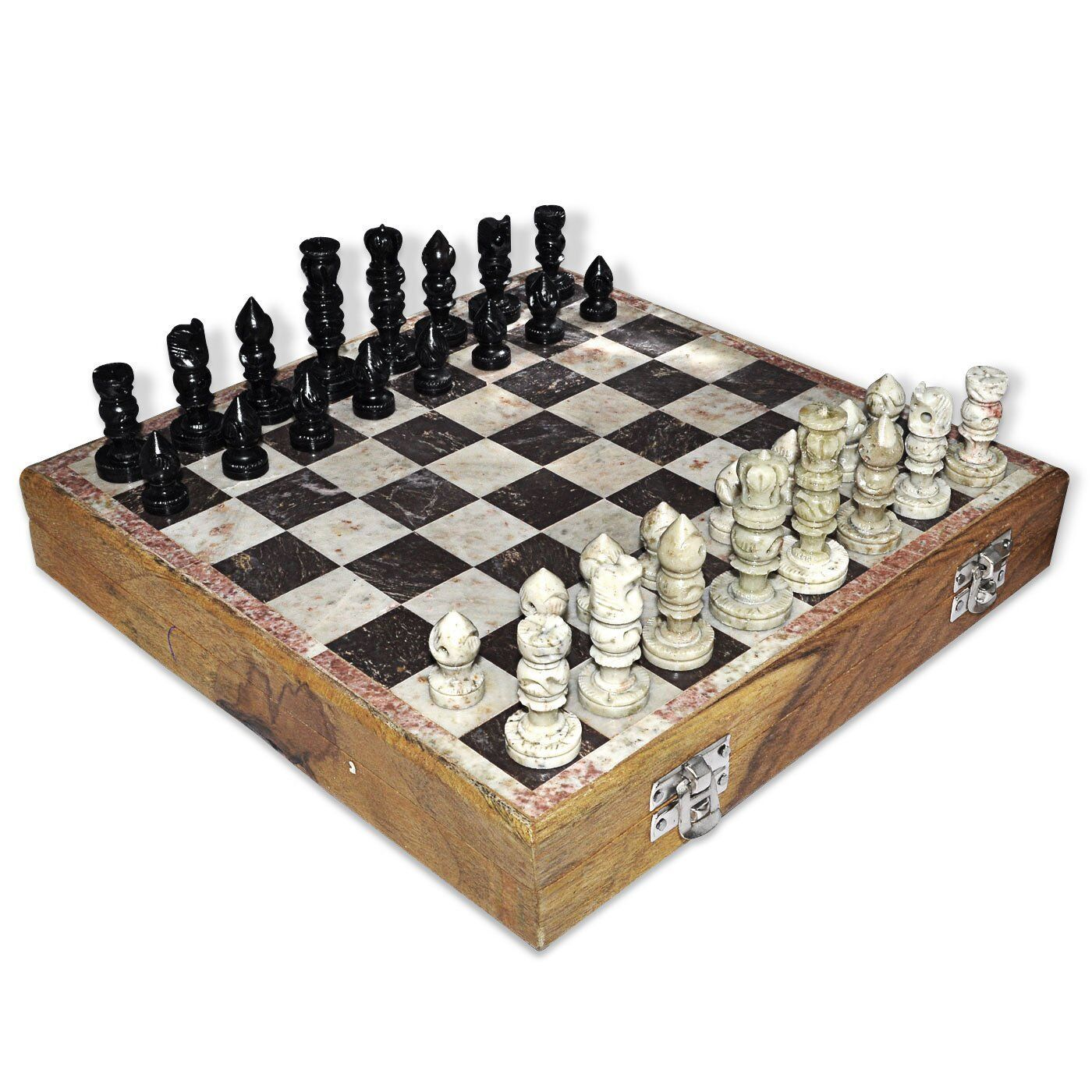 Indian handmade marble soap stone unique 32 chess pieces set 1 1 2 king size - Granite chess pieces ...