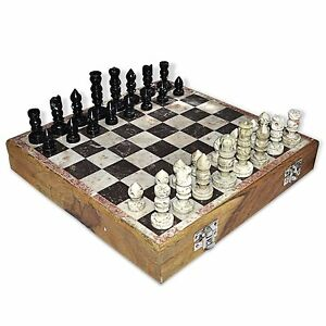 2 Pcs 6 X 6 Inches Indian Handmade Marble Stone Art Chess Pieces and Board Set