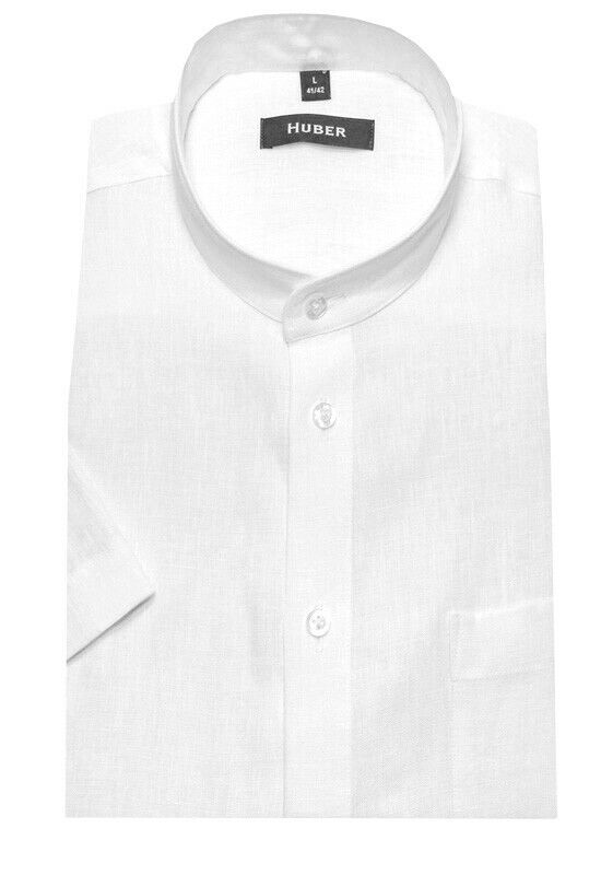 HUBER Qualitäts Stehkragen Leinen Kurzarm Hemd white Made in EU. HU-0114 Regular