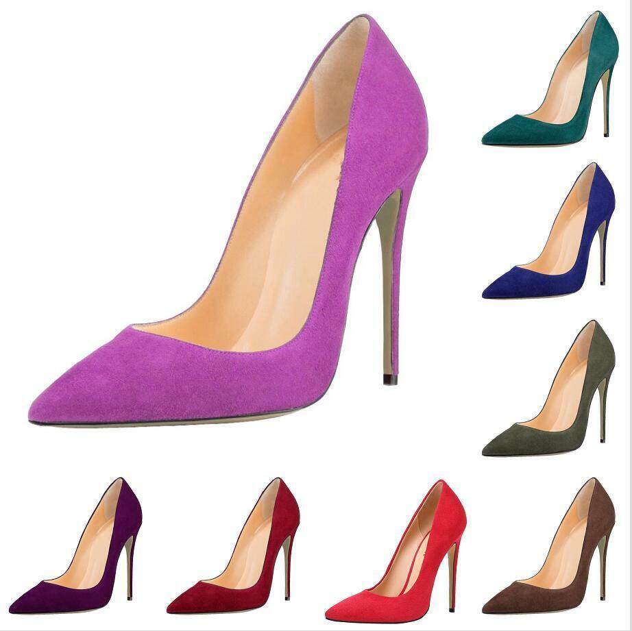 Sexy femmes chaussures 12-13 cm Stilettos Talon Haut Bout Pointu Et Fête De Mariage Slip On US