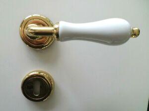 Maniglie Per Porte Interne In Porcellana.Dettagli Su Maniglie Per Porte Interne Porcellana Bianca Ottone Lucido