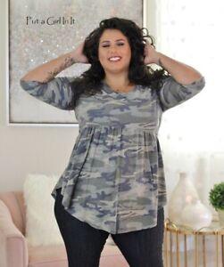 New Womens Plus Size Usa Camo Army Camouflage Babydoll Shirt Top Tunic 1x 2x 3x Ebay