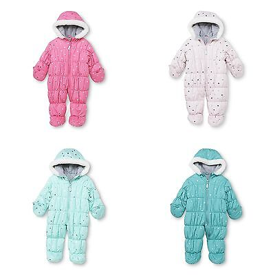 NWT Carter's Infant Girls 3-9 M Months Quilted Foil Pink Green Pram Snowsuit