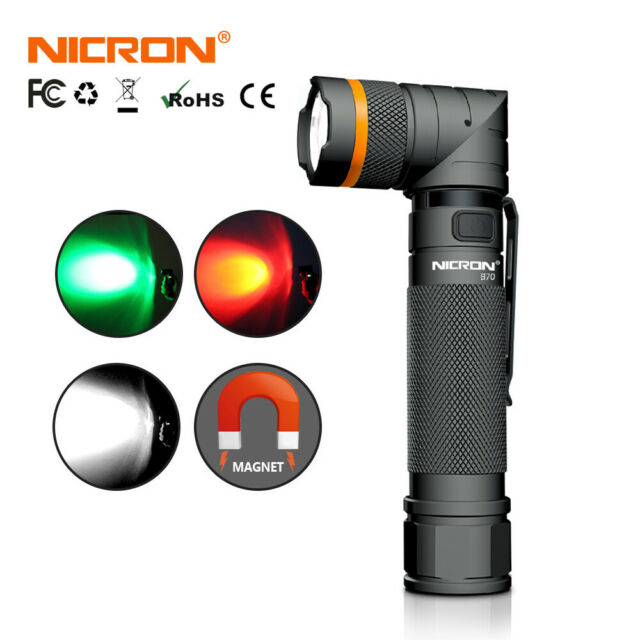 Nicron 1200LM 3 Lights Magnetic Twist 90° Rechargeable Tactical Flashlight 18650