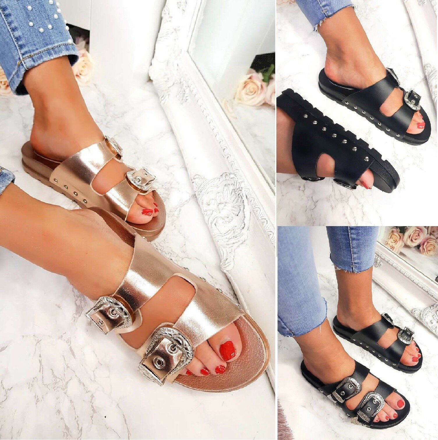 LADIES COMFY SANDALS STUDDED CELEB STYLE SLIDERS MULE SUMMER BUCKLE SANDALS COMFY Zapatos SZ 3-8 38b41d