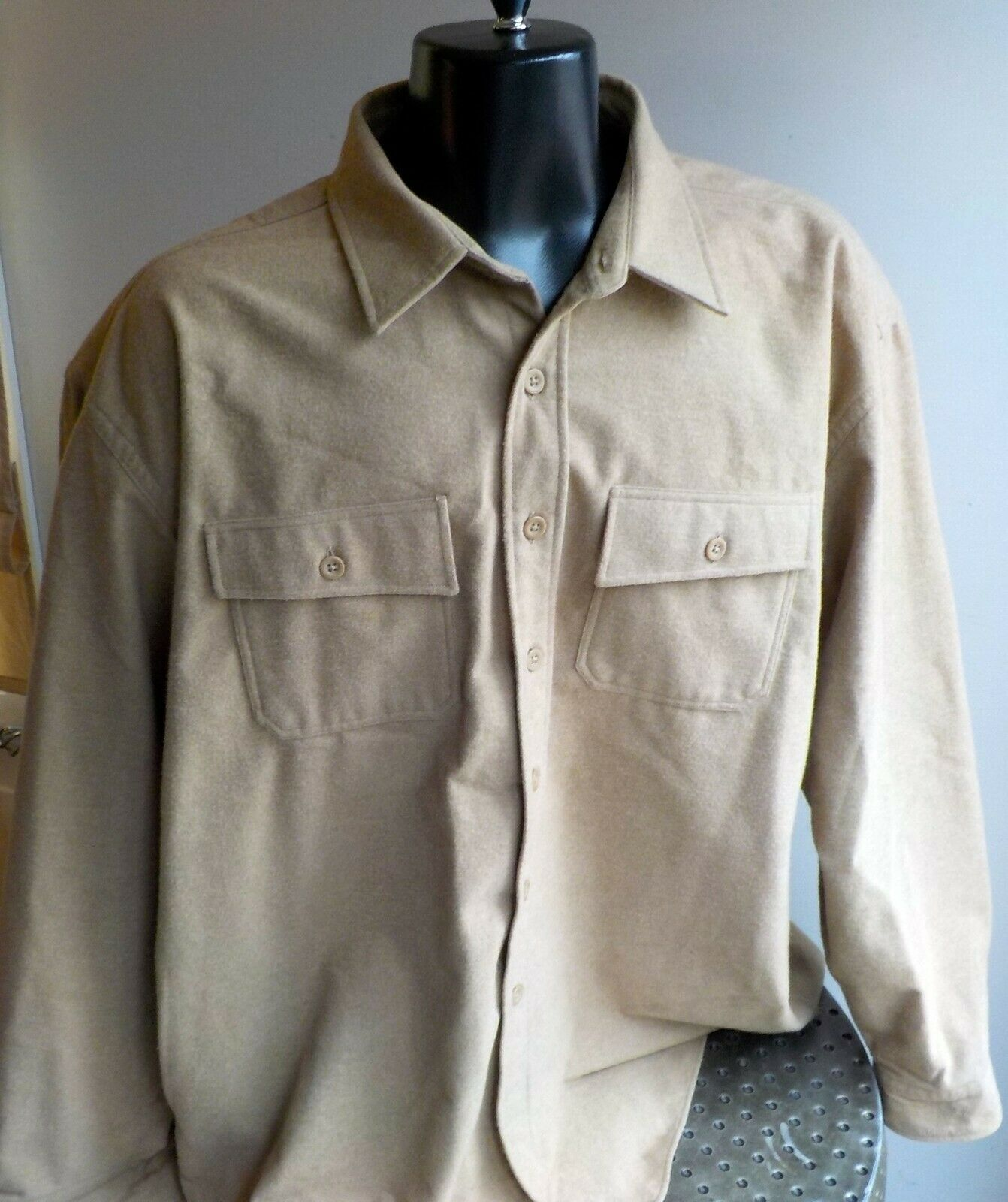 1aa94f2f L. L. Bean Heavyweight Chamois Flannel Shirt SZ XXL 100% Cotton Beige