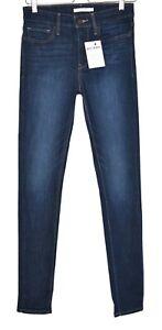 Damen-Levis-Skinny-Dunkelblau-Slim-Mid-Rise-stretch-Jeans-Gr-10-w28-l32