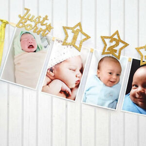 Kids 1-12 Months Baby 1st Birthday Photo Frame Shower Bunting Banner Party Decor