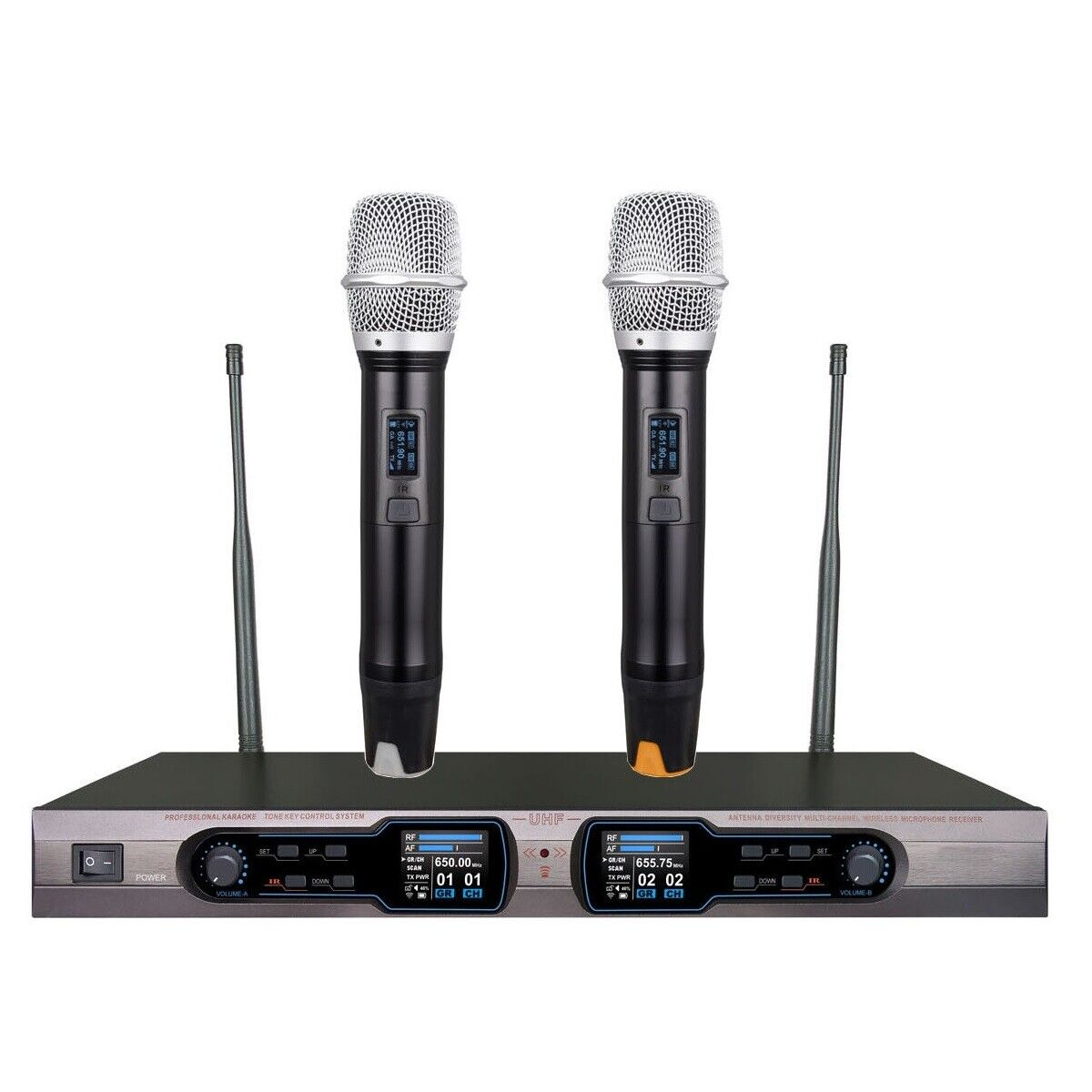 Wireless Microphone System UHF Diversity Dual Cordless Microphones for Singing