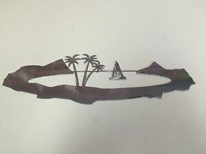 ISLAND-Metal-Wall-Art-15-X-5-Skilwerx-Nautical-Ocean-Beach-House-Decor-Marine