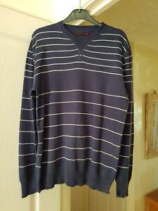 Herren Levi Strauss blau & weiß gestreift Pullover, dünner Strick, Größe M (Brust 38/40)
