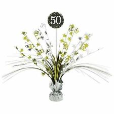Gold 50th Birthday Table Decoration Centrepiece Spray Cascade  Weighted 33cm