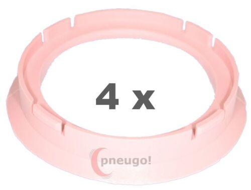 4 Piezas Anillas de centrado plástico 70.0mm a 57.1mm rosa