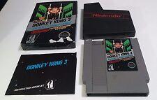 Donkey Kong 3 III Complete Nintendo NES Game CIB Black Box Rare Free Shipping