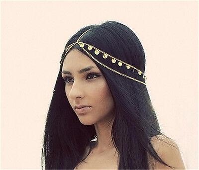 Women Metal Rhinestone Chain Jewelry Headband Head Piece Hair band Gold Silver