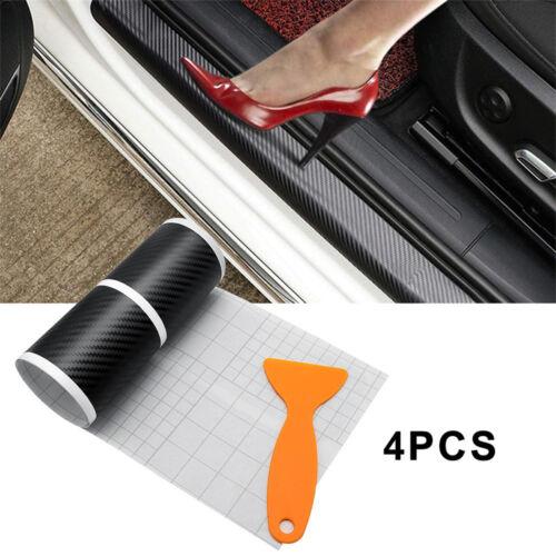 4x 3D Carbon Fiber Car Door Pedal Plate Sill Scuff Cover Anti Scratch Sticker