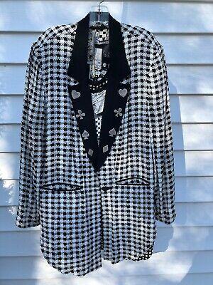 80s Vintage Black and Silver Paisley Print Crop  Blazer Jacket Size L Large