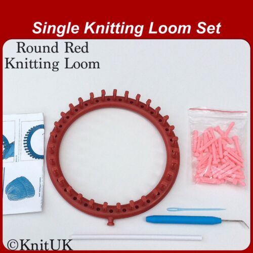 +31 Extra-Pegs KnitUK Round Red Knitting Loom 31 Pegs