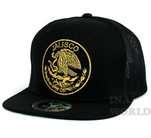 dabc21e21265f MEXICAN hat Mesh Snapback MEXICO Federal State Flat bill Baseball ...