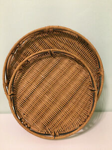 Round-Wicker-Rattan-amp-Metal-Serving-Tray-Lot-of-Two