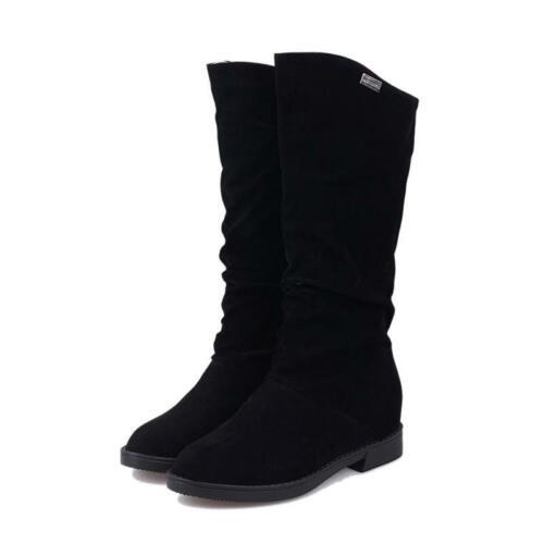 Femmes Caché Wedge Talons Mi-Mollet Bottes d/'équitation à enfiler en daim chaussures de loisirs Q