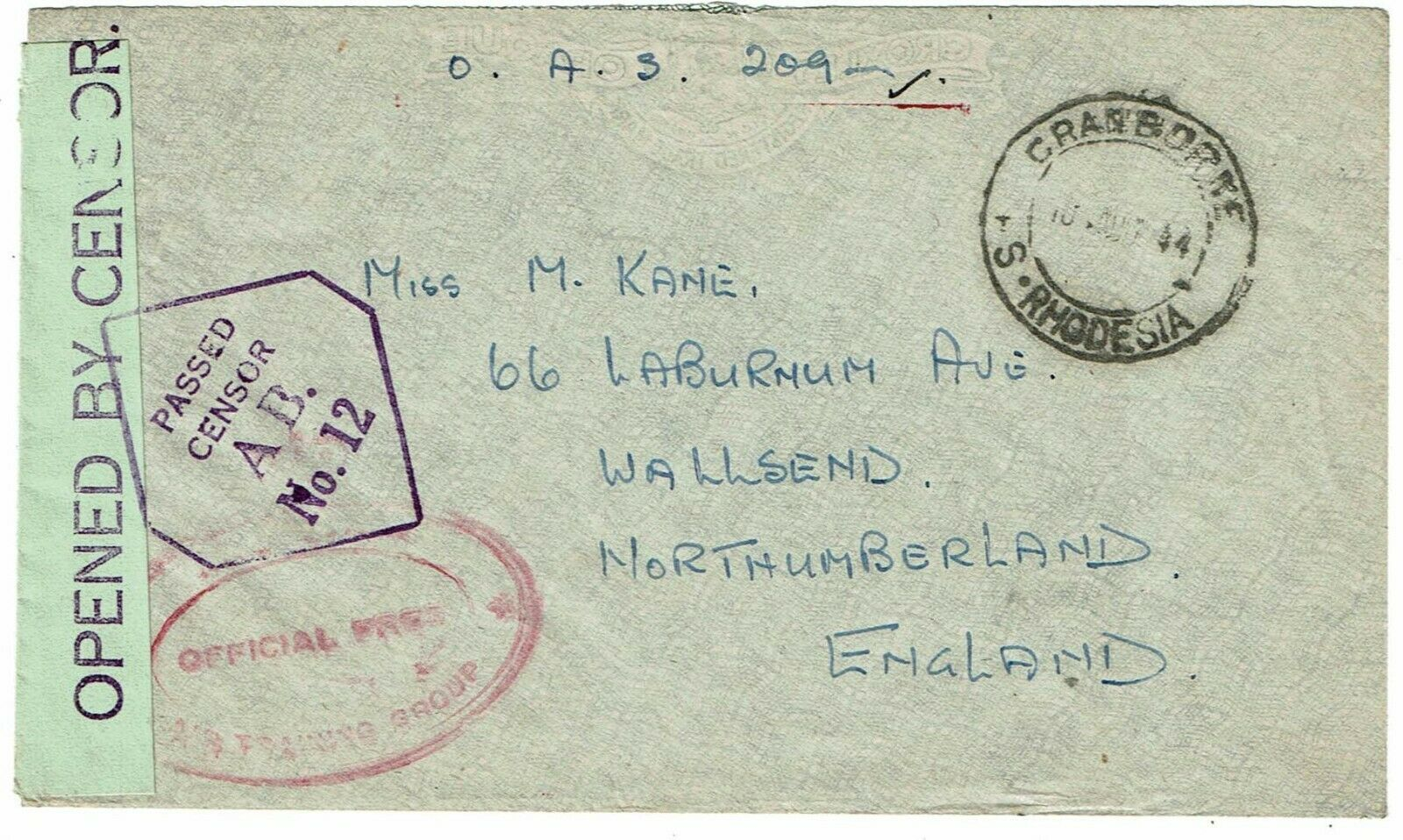 Southern Rhodesia 1944 Cranborne cancel on O.A.S. cover to England, censored