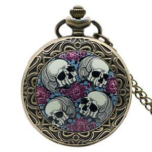 Vintage-Rose-Skull-Death-Pocket-Watch-Necklace-Antique-Xmas-Gift-Quartz