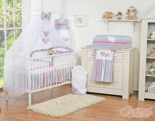 set complet Lit à tiroir blanc coeur  pour bébé set 19 pièces,matelas,parure
