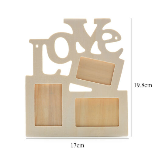 DIY Durable Hollow Love Art Wall Mount Wooden Photo Picture Frame Home Decor
