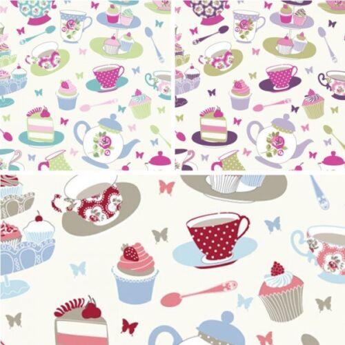 100/% algodón tela estilo de vida por la tarde Té Cupcakes de 140 Cm de Ancho