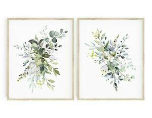 Verdor impresiones follaje Pared Arte botánico Vivero Decoración del hogar Juego de 2 616-A