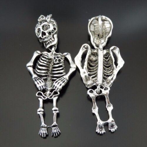 8PCS Antique Silver Tone Alloy 3D Skull Skeleton Pendant Charms 68*27*11mm