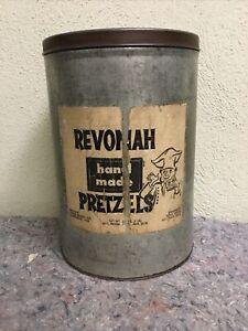 Vintage Revonah Hand Made Pretzels Tin-Hanover, Pa