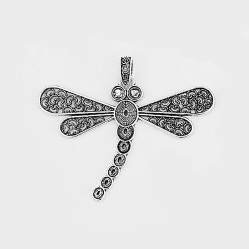 3pcs Large Antique Silver Filagree Open Dragonfly Charms Pendant
