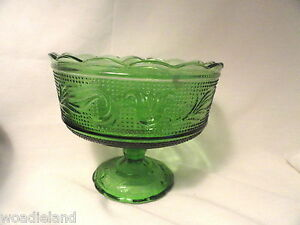 Forest-Green-Heritage-Glass-Compote-Bowl-Mid-Century-Modern-Footed
